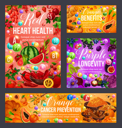 Color diet vegetables fruits spices healthcare vector