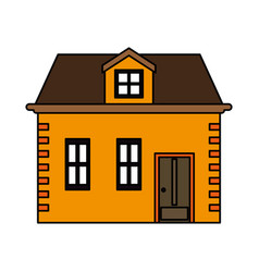 Color image cartoon facade house with two floors vector