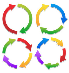 Colorful circular arrows set with 2 3 4 5 vector