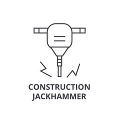 Construction jackhammer line icon sign vector