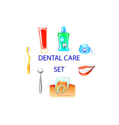 Dental care colour set clip art vector