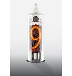 Digit 9 on vintage vacuum tube display vector