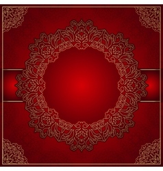 Elegant red background with gold ornament vector image