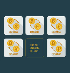 Exchange bitcoins for different currencies vector