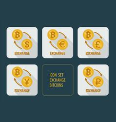 Exchange bitcoins for different currencies vector