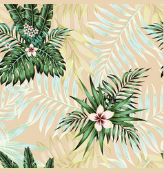 exotic flowers leaves seamless pattern vector image