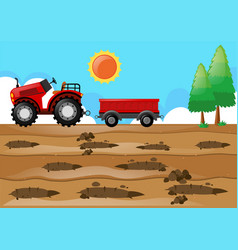 Farm scene with tractor in the field vector