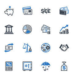 Finance Icons - Blue Series vector image