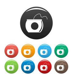 floss box icons set color vector image