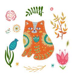folk set colorful vector image