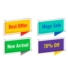 four sale tags in chat bubble style vector image