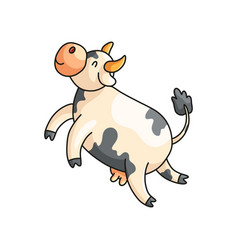 Funny smiling spotted cow with eyes closed vector