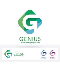 g letter logo g letter in harmony color rectangle vector image