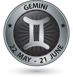 Gemini zodiac silver sign gemini symbol vector
