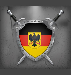 germany flag with coat of arms the shield with vector image