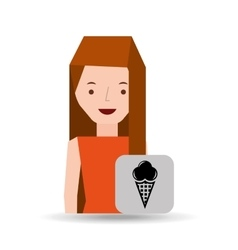 Girl cartoon ice cream dessert icon vector