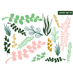 Grass and branches set vector