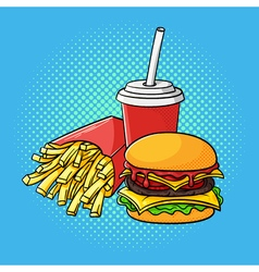 hand drawn pop art of hamburger french fries and vector image