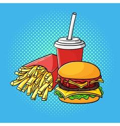 Hand drawn pop art of hamburger french fries and vector