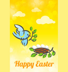 happy easter bird and nest card vector image