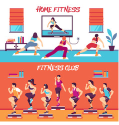 Home class fitness banners set vector