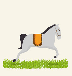 Horses circus show icons vector