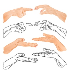 Human hands drawing and outline one set vector
