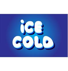 Ice cold text 3d blue white concept design logo vector