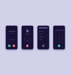 incoming call screen smartphone application ui vector image