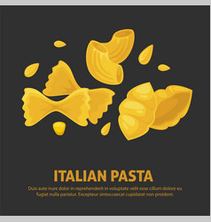 Italian pasta products in shapes of bow and shell vector