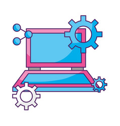laptop computer gears setting data storage vector image