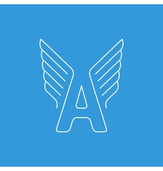 Letter A logo with wings in thin lines vector image