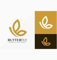 Letter b butterfly line art logo design abstract vector