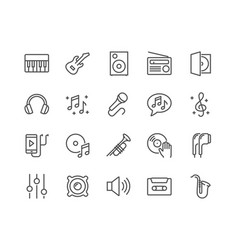 Line music icons vector