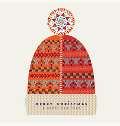 Merry christmas holiday card of red winter hat vector
