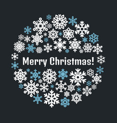 merry christmas snowflakes poster template vector image