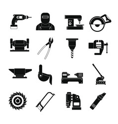 Metal working icons set simple style vector
