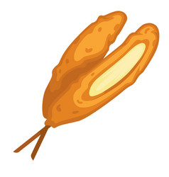 Mozzarella cheese with crisps served in stick vector