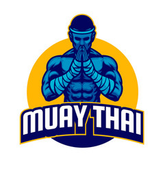 Muay thai fighter salute posing vector