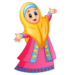 Muslim girl wearing yellow veil and pink dress pre vector