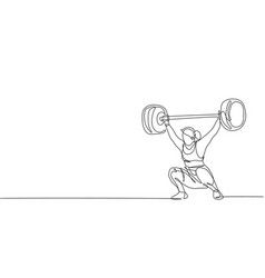 One single line drawing fit young athlete vector
