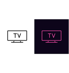 Outline tv icon linear television sign isolated vector
