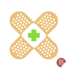 patch medical flat with red cross adhesive band vector image