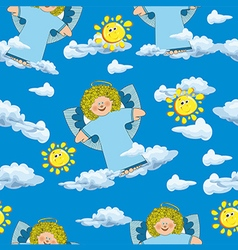 Pattern with angels and clouds on a blue vector