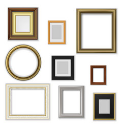 Picture and photo frames interior blank borders vector