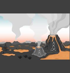 Prehistoric landscape with volcano eruption lava vector