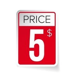 Price tag sticker - five usd vector