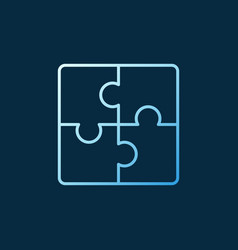 puzzle concept blue icon or logo in outline vector image