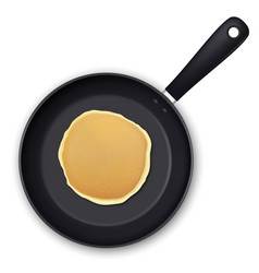 Realistic pancake in the frying pan closeup vector