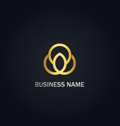 round connect business gold logo vector image
